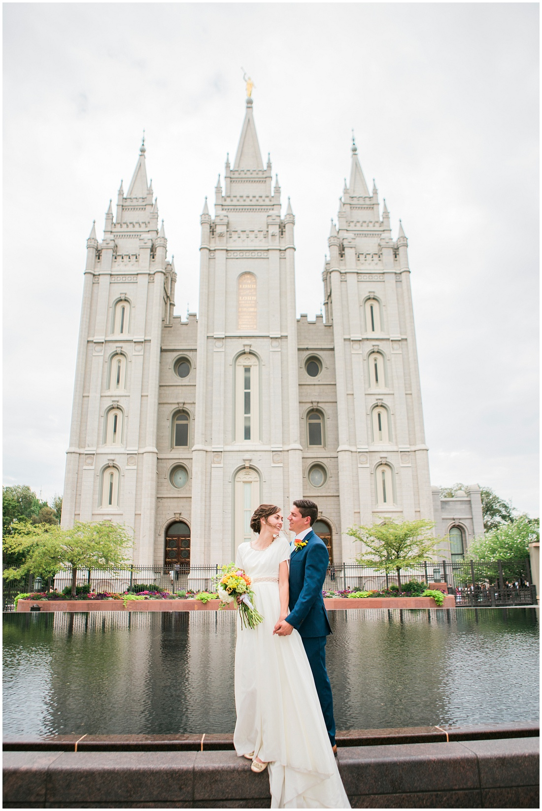 Bride and Groom at Reflecting Pool, Salt Lake Temple