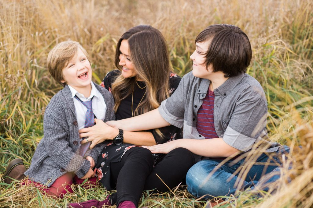 mom and sons, fall family photos, Fish Creek Park, motherhood