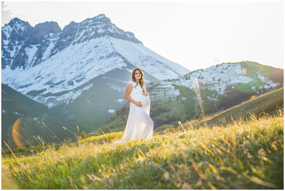 Waterton maternity, Calgary maternity photographer, maternity dress, baby bump, beautiful light, mountain maternity shoot