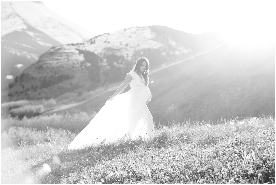 Waterton maternity, Calgary maternity photographer, maternity dress, baby bump, beautiful light, mountain maternity shoot, black and white photo